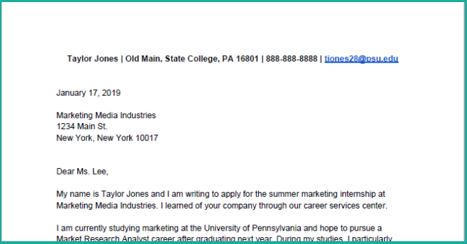 How to Write a Cover Letter for Your Internship [with