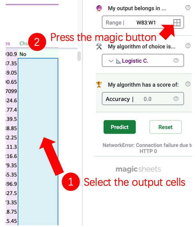 Image showing how to select the output cells.