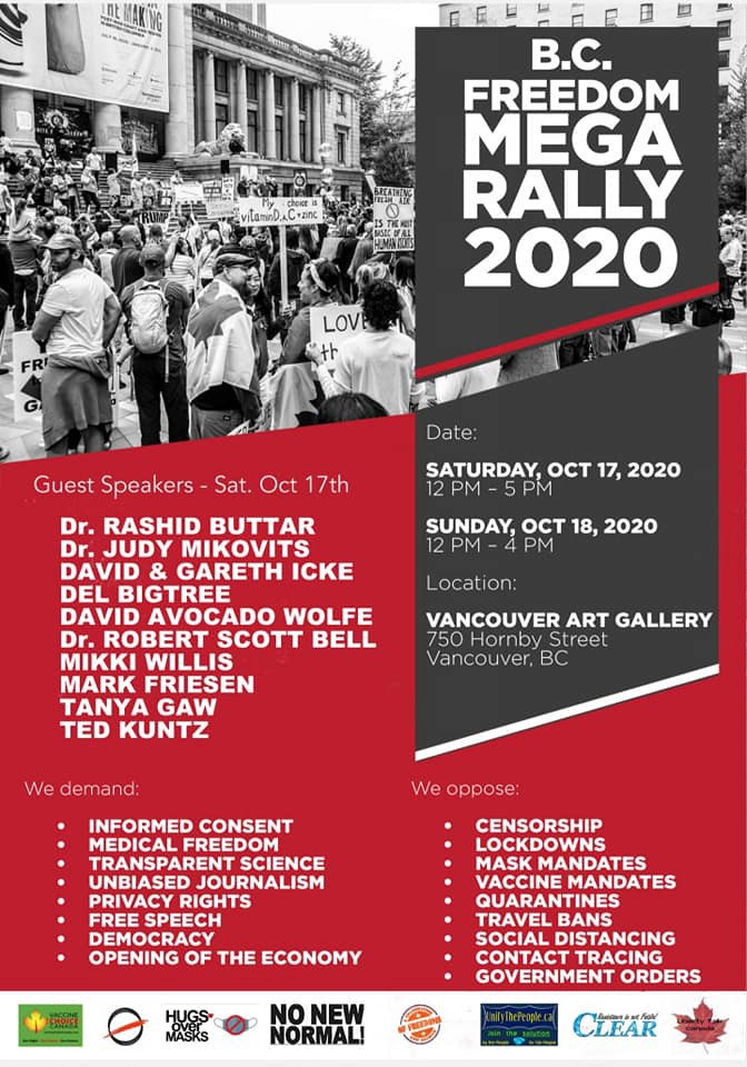 B.C. Freedom Rally Poster for Saturday and Sunday, Oct. 17 to 18th.