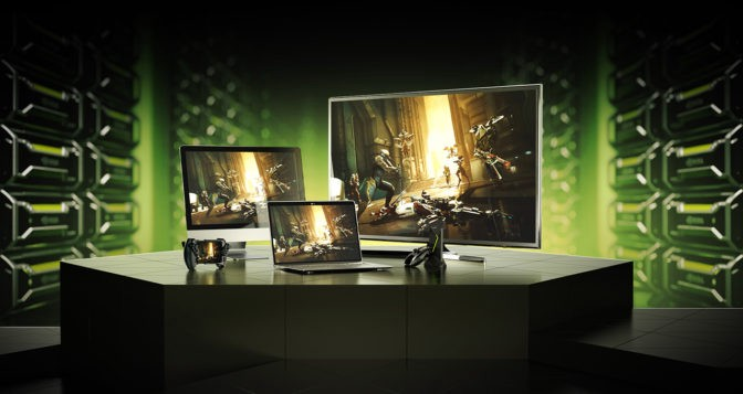 A product shot of GeForce Now, Nvidia's new game streaming platform gameplay, with gameplay across different screens.