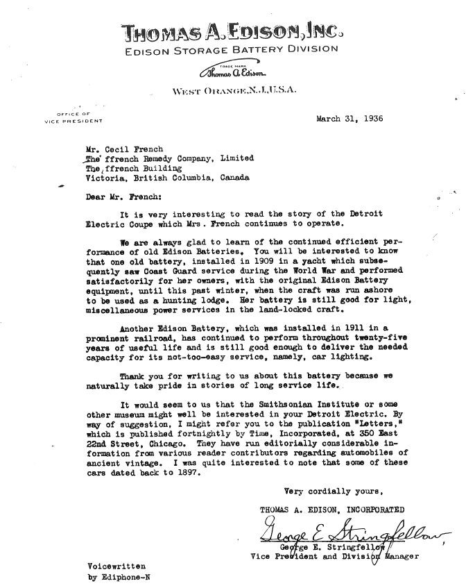 """March 31, 1936–24 years after the 1912 Detroit was made. Note how this letter was composed—""""Voicewritten by Ediphone-N"""""""