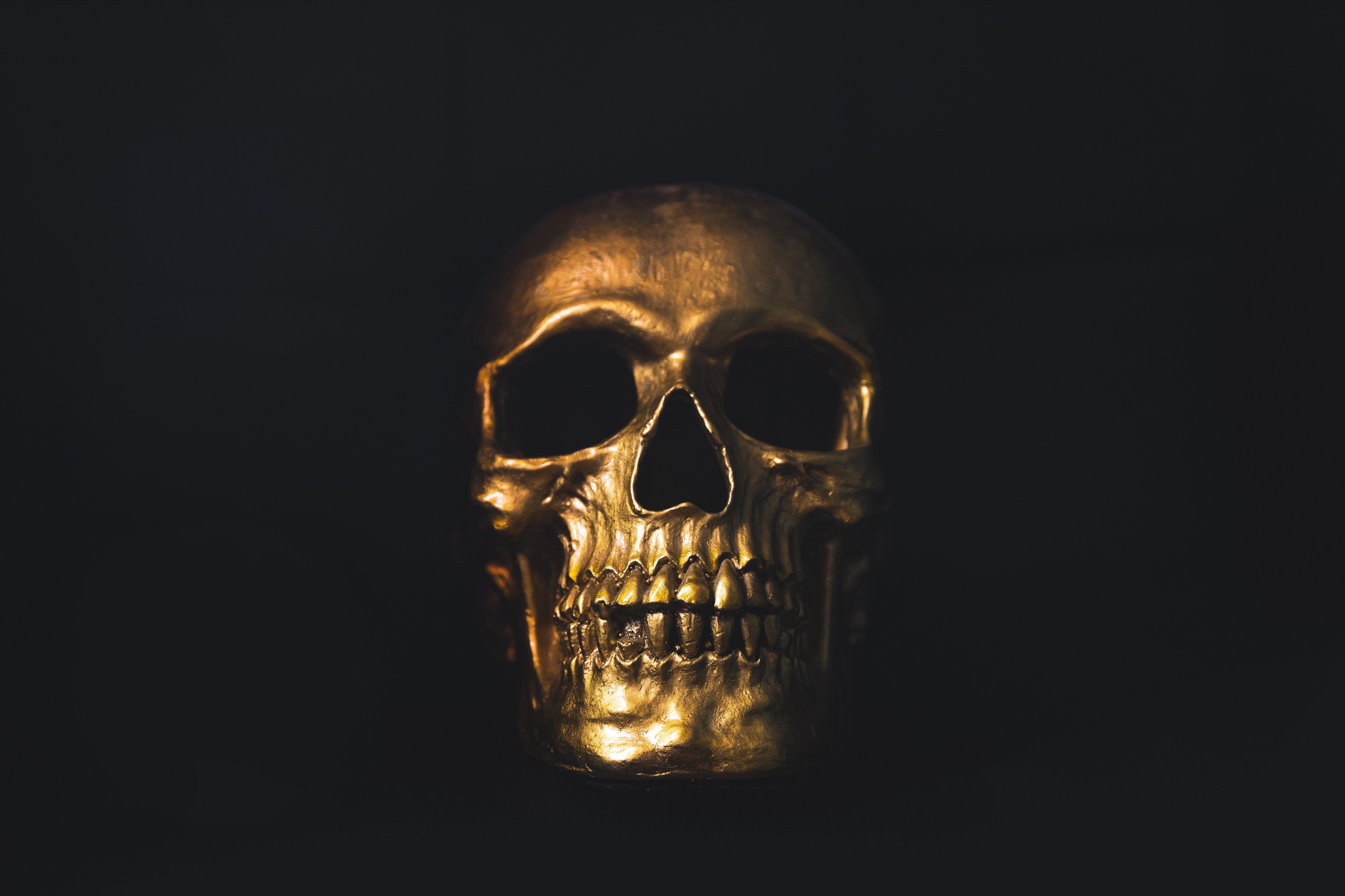A golden skull shining against a dark background — read to the end of the piece and it will all become clear!