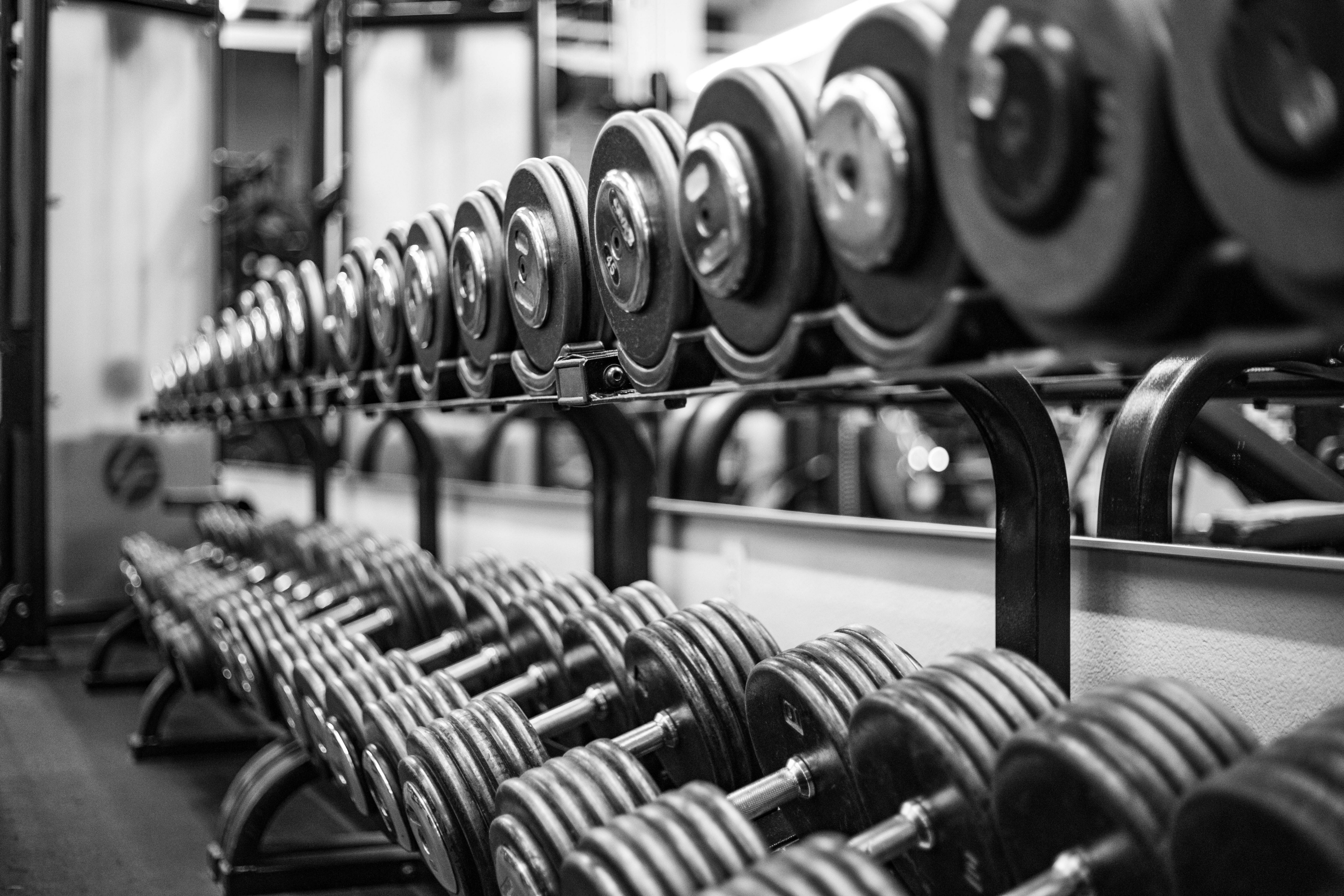 A large rack of free weights.