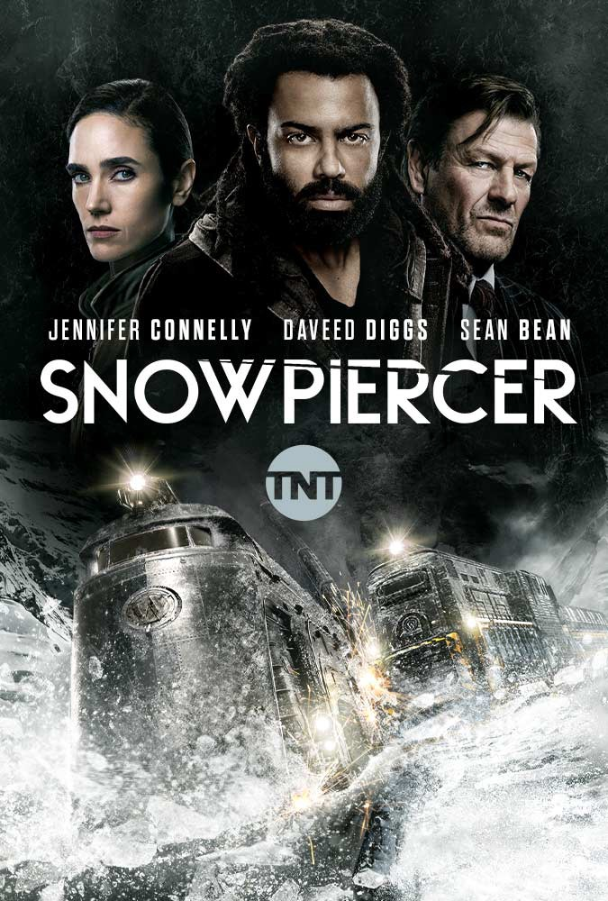 The poster of the TV show. You can see a big train in frozen darkness and three main characters above it.