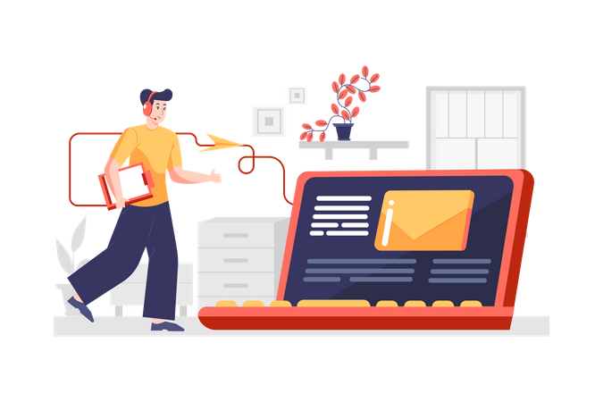 Quickly receiving message or emails from business service Illustration ID 2118983