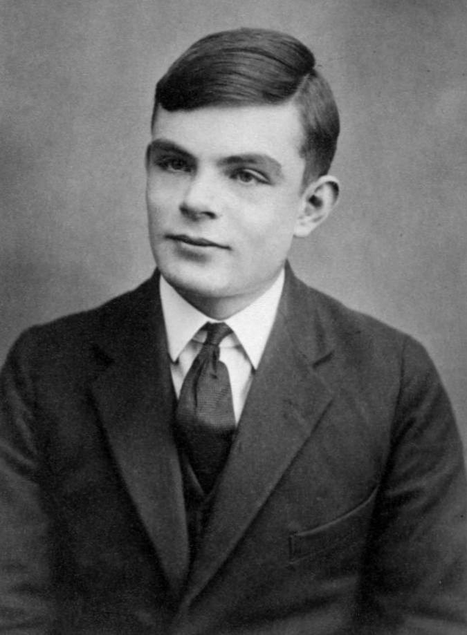 A young Alan Turing in a black and white photo