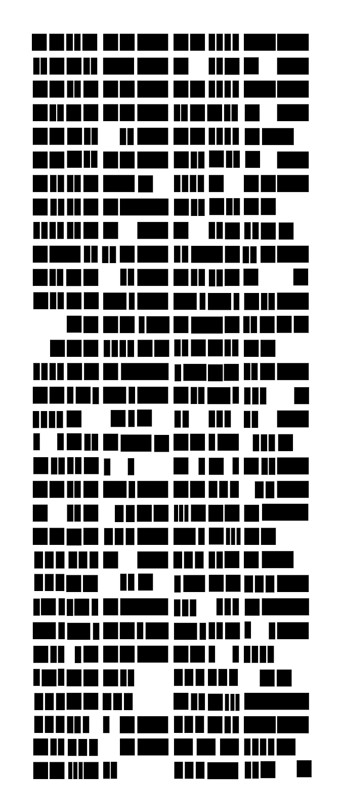 Dozens of rows of rhythmic patterns represented by black squares, rectangles, and negative space.