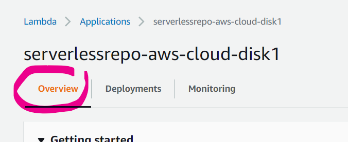 Overview tab of the created CloudFormation Stack