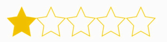 in the style of the Amazon star ranking system, this has 1 filled in yellow star next to four other, unfilled stars.