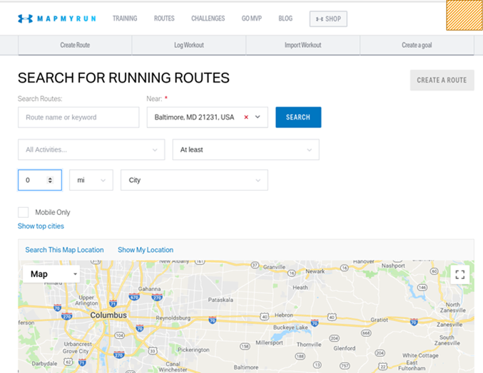 Mapping Physical Activity by Webscraping MapMyRun com with