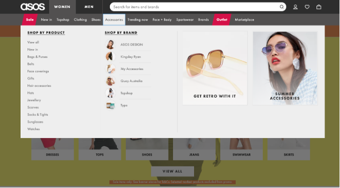 A screenshot of the ASOS website navigation where one submenu is selected and expanded