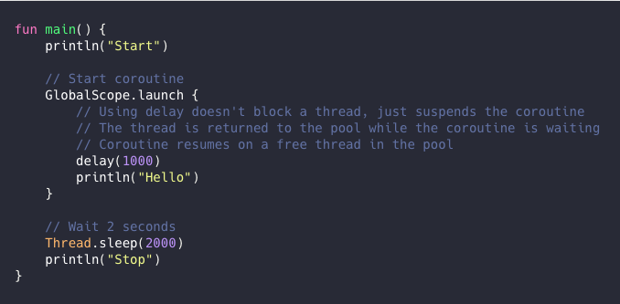 main function using global scope launch to start a coroutine