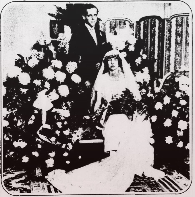 Billy and Xenia at their wedding. She isn't smiling.