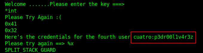 Credential for the fourth user obtained from strings.