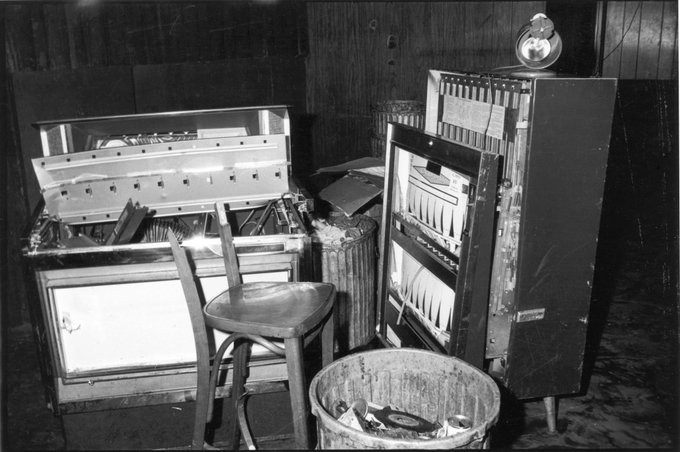 An antique photograph of equipment inside the Stonewall Inn that has been smashed in the riot.