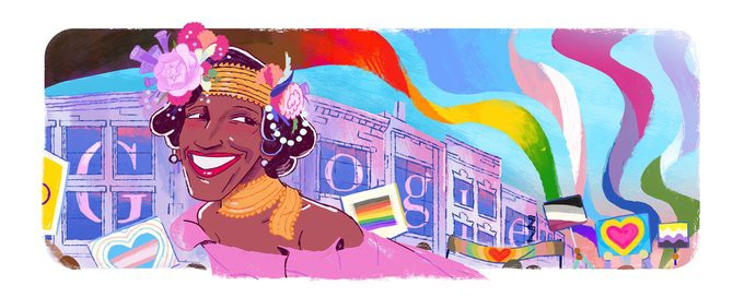 The Google Doodle in honor of Marsha P. Johnson. It shows her leading a peaceful Pride Parade, with queer flags being flown in the background.