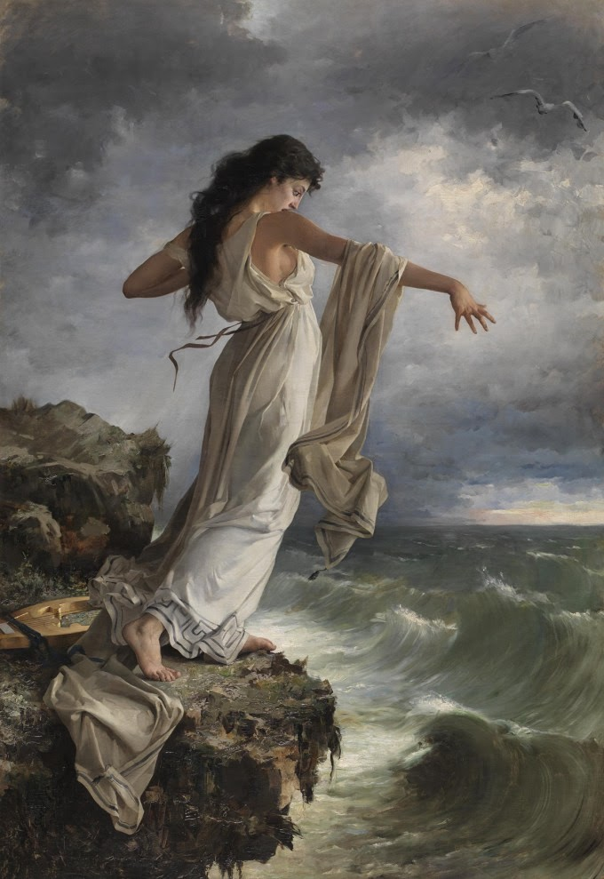 painting of Sappho by Miguel Selva showing her on a cliff overlooking the sea