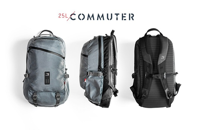 c61af19bbee14a Two bags: panel-loading Commuter (25L) and rolltop Traveler (35L). Sleek  bags with a eco-friendly custom Cordura-brand fabric.
