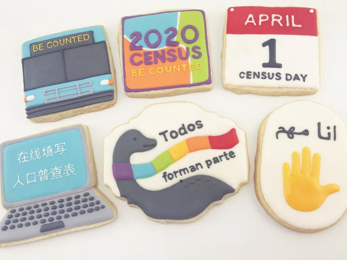 6 custom made cookies inspired by the 2020 Census