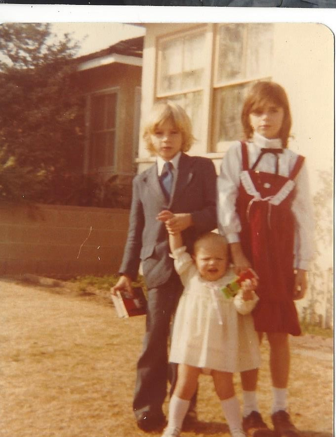 Tanya Petro as a toddler with her brother, Greg, and her sister, Tracy