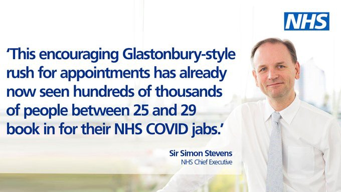 Sir Simon Stevens commenting on the busiest day for bookings
