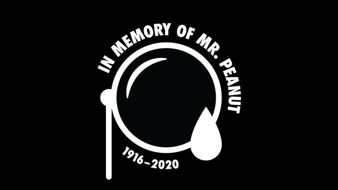 "A monocle with a tear with the words ""In Memory of Mr. Peanut"" at the top, his living years at the bottom."
