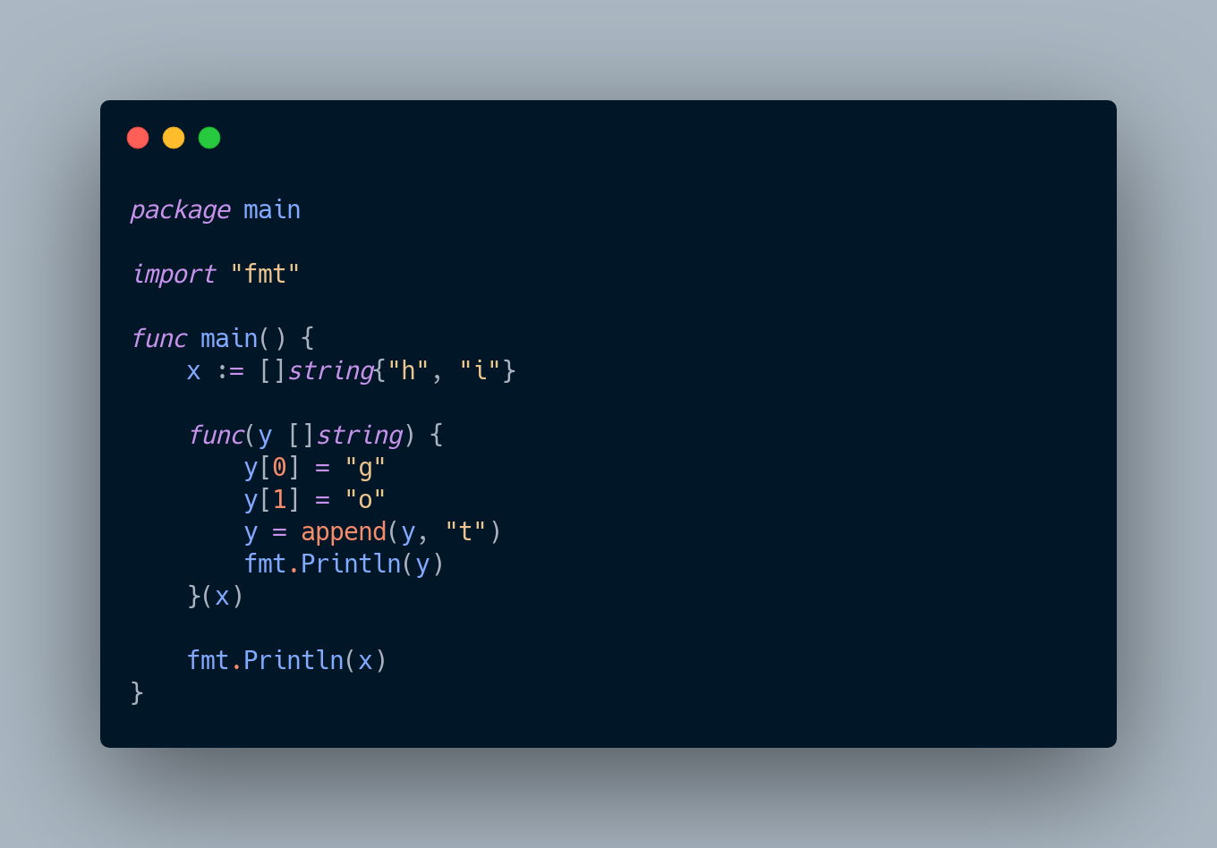 Go code that creates a slice, then calls a function which mutates that slice and then appends to it.