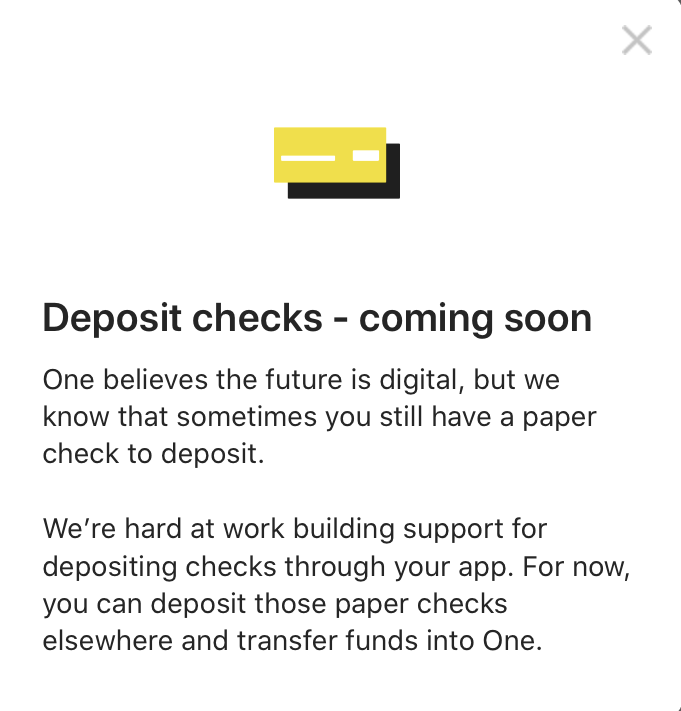 One Finance :Deposit checks - coming soon