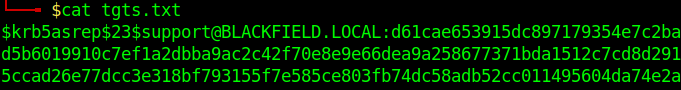 """The output from command """"cat tgts.txt"""" showing a TGT hash for user support@blackfield.local."""