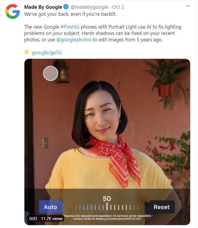 How to avoid brand failure — Google Pixel 5G Twitter feed about the benefits of the phone's camera