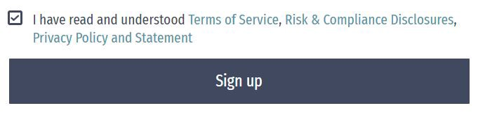 Submit button and ToS checkbox