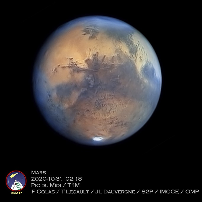 Mars, imaged from the Pic-du-Midi Observatory in France on Halloween 2020.