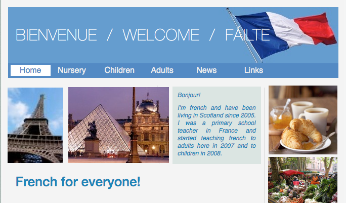 screenshot of my old website for French Classes