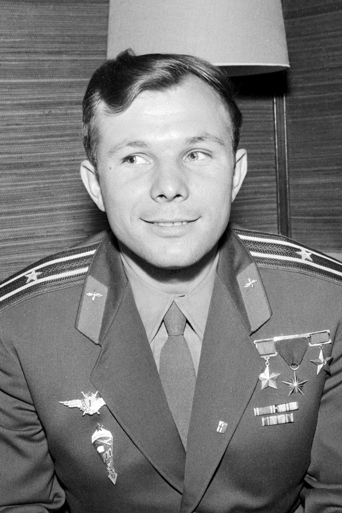 Soviet cosmonaut, Yuri Gagarin, made a single orbit around the earth and became the first man in space.
