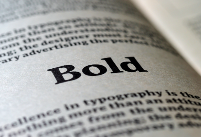 """The word """"Bold"""" in a book"""