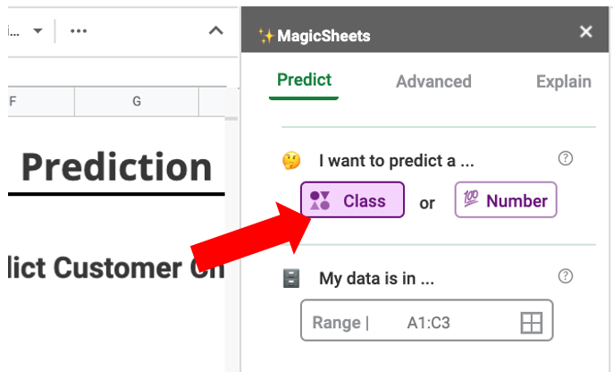 Image showing the two prediction options: classes or numbers.