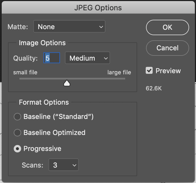 JPEG options to change image quality as well as file size