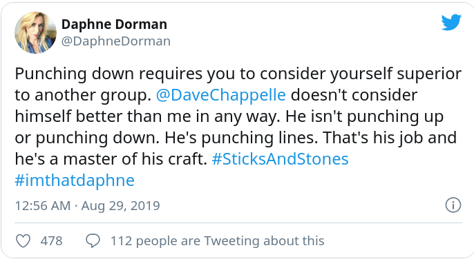 A tweet from Daphne Dorman defending Dave Chappelle's trans humour