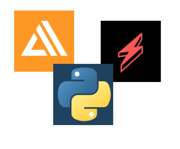 logos for AWS Amplify, Python, and Serverless Framework
