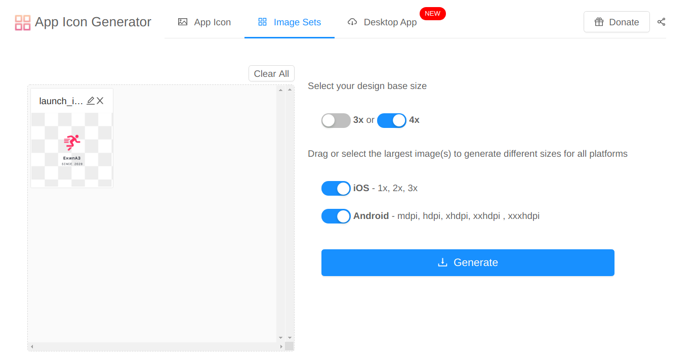 An App Icon Generator screenshot of a window asking for your preferred design base size and displaying a blue Generate button