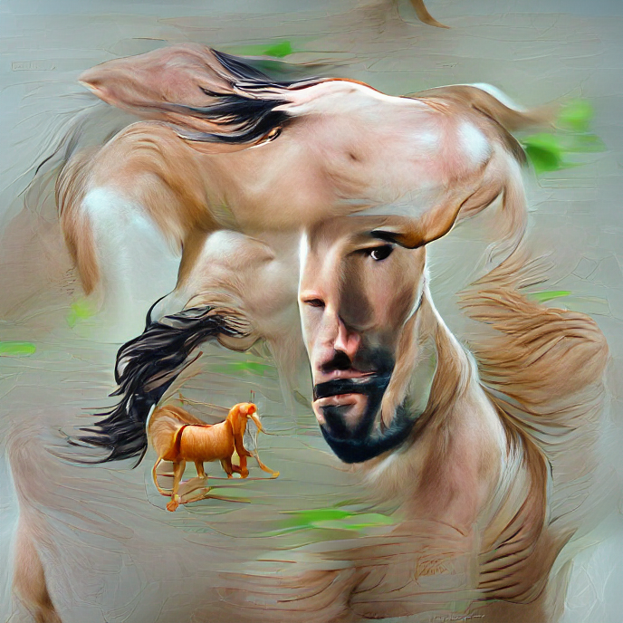 A loose painting-style image with parts of Keanu Reeves' face, horse body, and hair