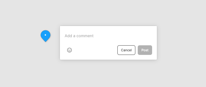 Figma modal for commenting. Prompt text reads Add a comment, one button reads Cancel and the other reads Post.