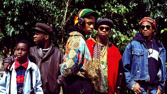 """A Tribe Called Quest filming for """"Yo! MTV Raps"""" circa 1990, in their hometown of New York City. Photo by Janette Beckman/Getty Images."""
