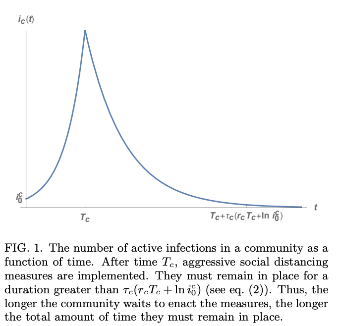 Figure 1: The number of active infections in a community as a function of time. From Dr. Bar-Yam's working paper on COVID-19