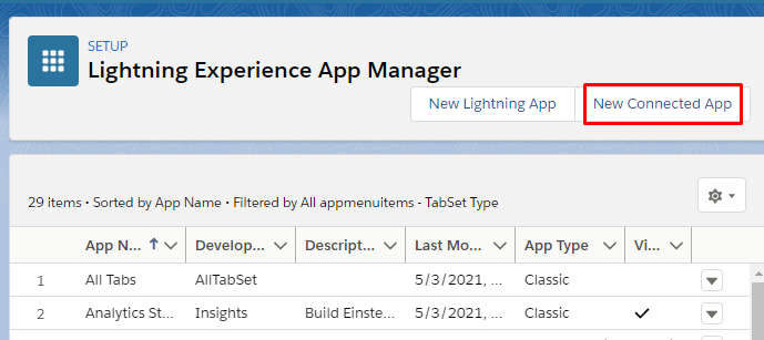 New Connected App button within the Lightning Experience App Manager