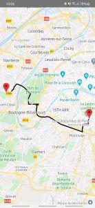 map of paris created using react native with directions via polylines