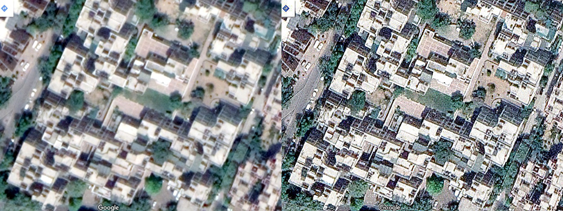 Satellite view of buildings