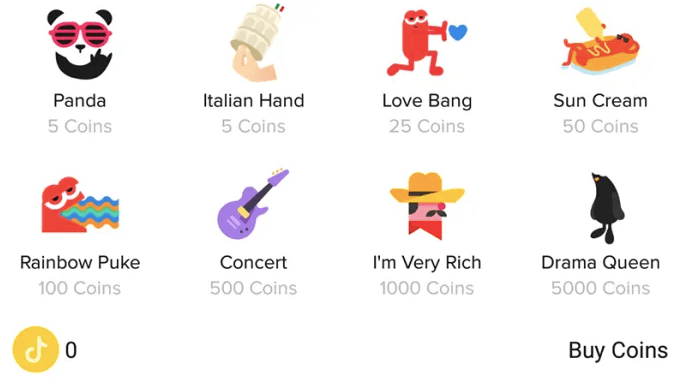 Various unique stickers that users can reward to their favourite TikTok creators.