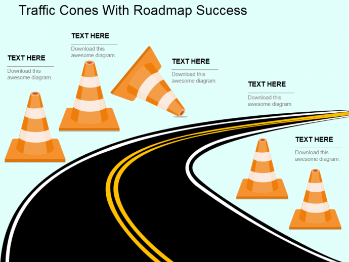 Traffic cones with roadmap success flat powerpoint template