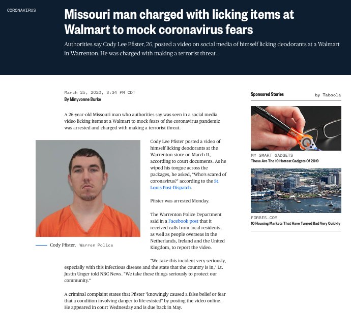 https://www.nbcnews.com/news/us-news/missouri-man-arrested-licking-items-walmart-mock-coronavirus-fears-n1168901
